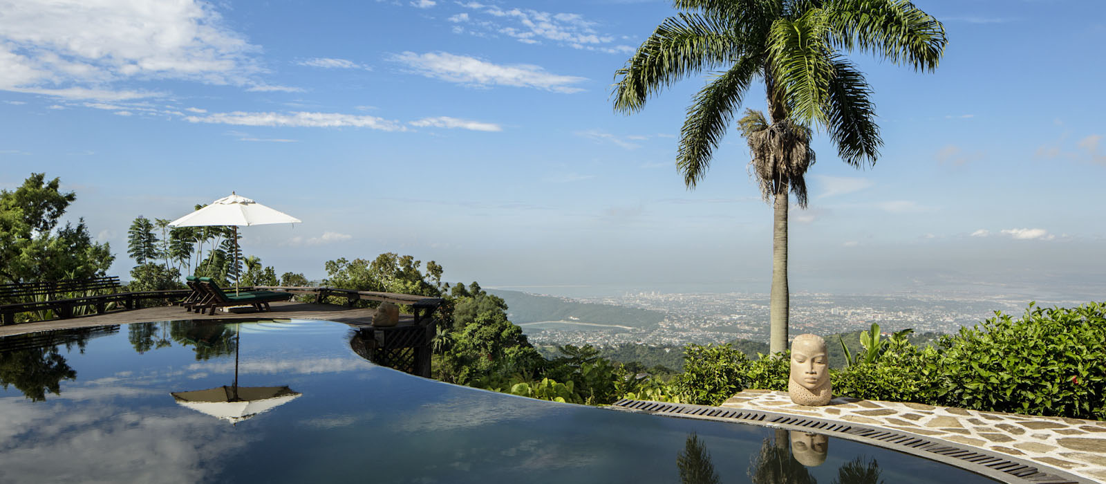 A picture of the Strawberry Hill Resort infinity pool and amazing views in St Andrew Jamaica