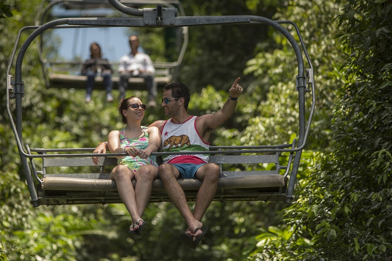 A picture of a couple enjoying the view at the Outdoor Adventure & Eco-Tourism spot of Rainforest Adventures, Mystic Mountain Jamaica